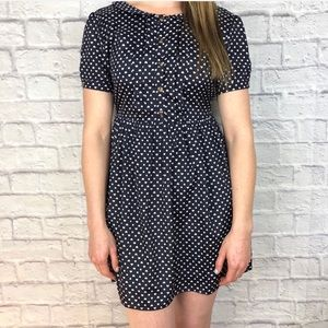 Vintage Style Navy Heart Polka Dot Dress